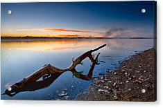 Sunrise Log Lake Acrylic Print by Berkehaus Photography
