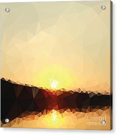 Sunrise Low Poly Effect Abstract Vector Acrylic Print by Vinko93