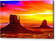 Sunrise Monument Valley Mittens Acrylic Print by Bob and Nadine Johnston