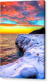 Sunrise North Of Chicago Lake Michigan 1-14-14 Acrylic Print by Michael  Bennett