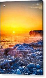 Sunrise North Of Chicago Lake Michigan 1-3-14  Acrylic Print by Michael  Bennett