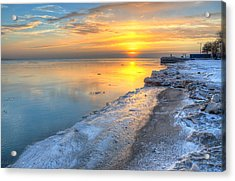 Sunrise North Of Chicago Lake Michigan 1-4-14 003 Acrylic Print by Michael  Bennett
