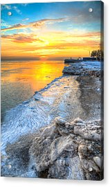 Sunrise North Of Chicago Lake Michigan 1-4-14   Acrylic Print by Michael  Bennett