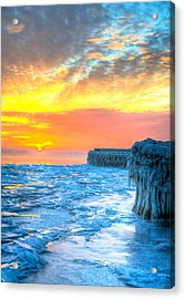 Sunrise North Of Chicago Lake Michigan 1-9-14 001  Acrylic Print by Michael  Bennett