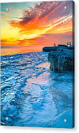 Sunrise North Of Chicago Lake Michigan 1-9-14 002  Acrylic Print by Michael  Bennett