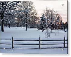 Acrylic Print featuring the photograph Sunrise On A Snowy Morning by Ann Murphy