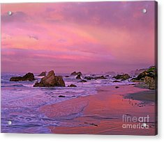 Acrylic Print featuring the photograph Sunrise On Sea Stacks Harris Sb Oregon by Dave Welling