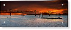 Sunrise On The Illinois River Acrylic Print by Thomas Woolworth
