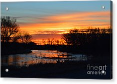 Sunrise On The River Acrylic Print by Renie Rutten