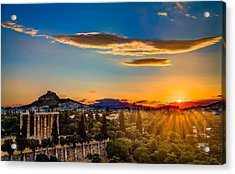 Acrylic Print featuring the photograph Sunrise On The Temple Of Olympian Zeus by Micah Goff