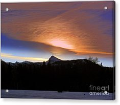 Sunrise Over Brokeoff  Mountain Acrylic Print by Irina Hays