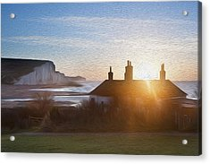 Sunrise Over Coastguard Cottages At Seaford Head With Seven Sisters Digital Painting Acrylic Print by Matthew Gibson