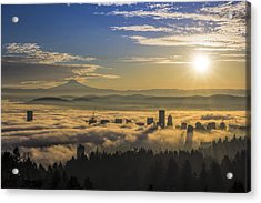 Sunrise Over Foggy Portland Acrylic Print
