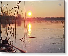 Sunrise Over Frozen Water Acrylic Print by Yvon van der Wijk