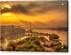 Sunrise Over Swiatokrzyski Bridge In Warsaw Acrylic Print