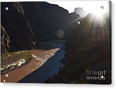 Sunrise Over The Colorado River Along Bright Angel Trail Grand Canyon National Park Diffuse Glow Acrylic Print