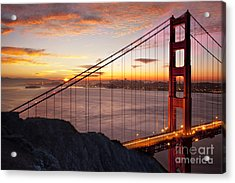 Sunrise Over The Golden Gate Bridge Acrylic Print
