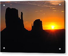 Sunrise Over The Mittens In Monument Valley Acrylic Print
