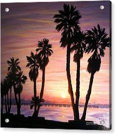 Sunrise Over The Ventura Pier Acrylic Print by Tina Obrien