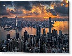 Sunrise Over Victoria Harbor Acrylic Print by Ratnakorn Piyasirisorost