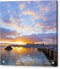 Sunrise Over Westhaven Marina Auckland New Zealand Acrylic Print by Colin and Linda McKie
