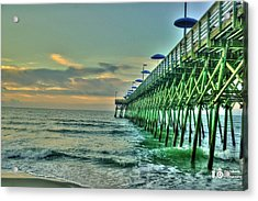 Acrylic Print featuring the photograph Sunrise Pier by Ed Roberts