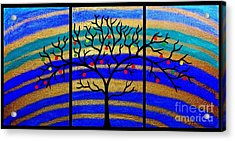 Sunrise Tree - Abstract Oil Painting Original Metallic Gold Textured Modern Contemporary Art Acrylic Print by Emma Lambert