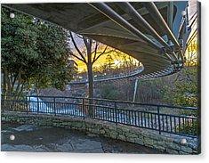 Sunrise Under Liberty Bridge At Falls Park Greenville Sc Acrylic Print