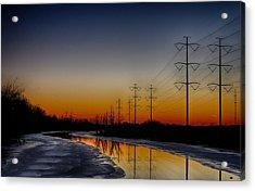 Sunrise Winter Reflection Acrylic Print