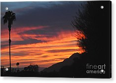 Sunrise With Lone Sentinel Over Desert Acrylic Print
