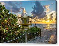 Sunrise Workout Return - Lifeguard Station - Miami Beach Acrylic Print