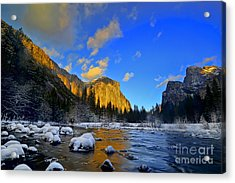Sunrise Yosemite Valley Acrylic Print by Peter Dang