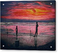 Acrylic Print featuring the painting Sunrise.us. by Viktor Lazarev
