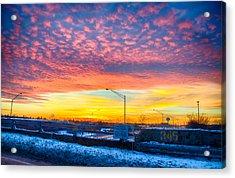 Sunset 1-3-14 Northern Illinois 001 Acrylic Print by Michael  Bennett