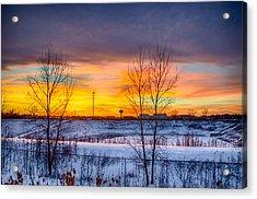 Sunset 1-3-14 Northern Illinois 003 Acrylic Print by Michael  Bennett