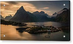 Sunset Above Sakrisoya Village Acrylic Print by Panoramic Images