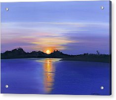 Acrylic Print featuring the painting Sunset Across The River by Elizabeth Lock