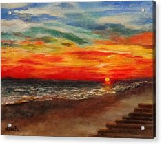 Sunset After Sandy Acrylic Print by Annie St Martin