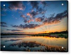Sunset Along The Brushy Acrylic Print by Jeffrey W Spencer