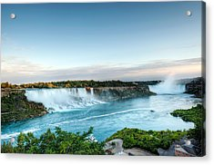 Acrylic Print featuring the photograph Sunset American And Canadian Falls At Niagara  by Marek Poplawski