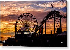 Sunset Amusement Park Farris Wheel On The Pier Fine Art Photography Print Acrylic Print by Jerry Cowart