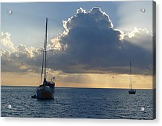 Sunset And Boats - St. Lucia Acrylic Print