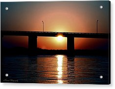 Sunset And Bridge Acrylic Print by Debra Forand