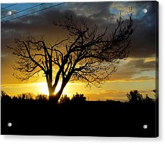 Sunset And Clouds. Acrylic Print by Joyce Woodhouse