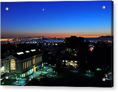 Sunset And Crescent Moon Over Campus Acrylic Print