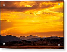 Sunset And Smoke Covered Mountains Acrylic Print by Rebecca Adams