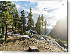 Sunset And Trail On Trees Acrylic Print by Vwpics - Roberto Lopez