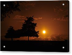 Sunset And Trees Acrylic Print by Cherie Haines
