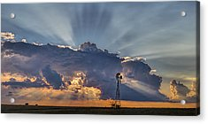 Sunset And Windmill Acrylic Print by Rob Graham