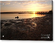 Sunset And Wooden Bridge In Ludo Acrylic Print